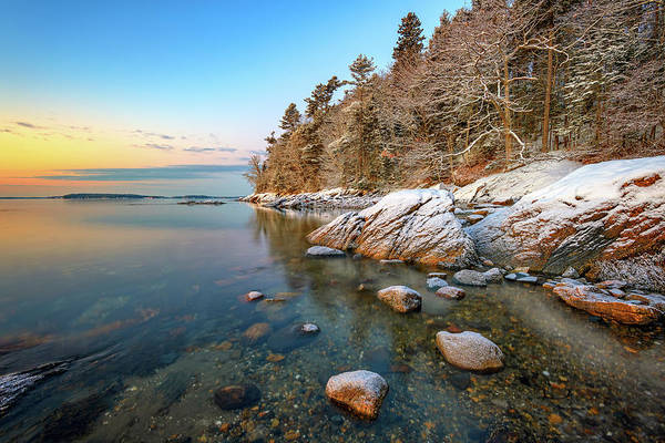 Berk Wall Art - Photograph - Snowy Shoreline In Wolfe's Neck Woods by Rick Berk