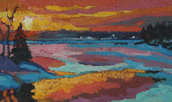 Painting - Snowy Singleton Sunset by Phil Chadwick