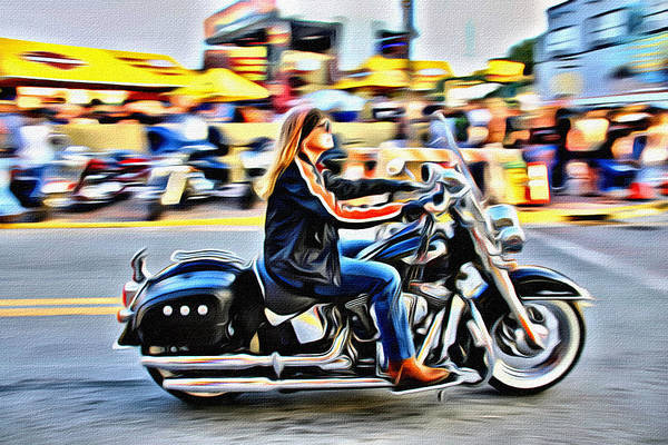 Daytona Bike Week Wall Art - Photograph - So Cool On Her Bike by Alice Gipson