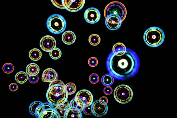 Freedom Photograph - Soap Bubbles On Black Background by Michael Duva