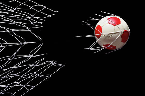 Damaged Photograph - Soccer Ball Breaking Through Goal Net by Phillip Simpson Photographer
