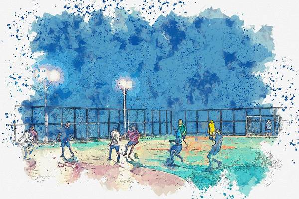 Wall Art - Painting - Soccer Players, Surin, Thailand Watercolor By Ahmet Asar by Celestial Images