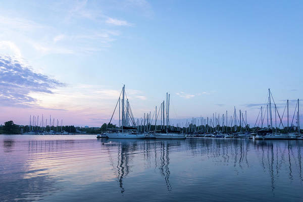 Photograph - Soft Blue And Pink Ripples - Yachts And Clouds Reflections by Georgia Mizuleva