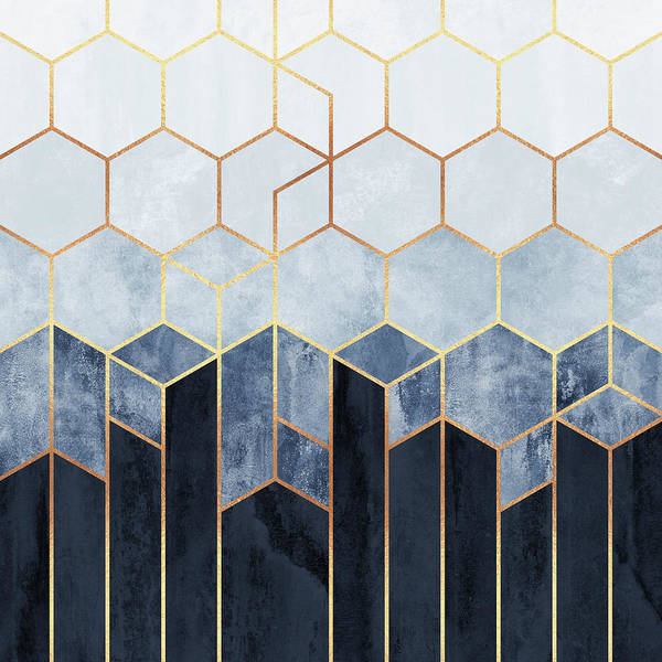 Graphic Design Wall Art - Digital Art - Soft Blue Hexagons by Elisabeth Fredriksson