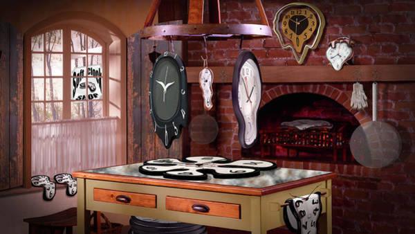 Fire Place Photograph - Soft Clock Shop H D by Mike McGlothlen