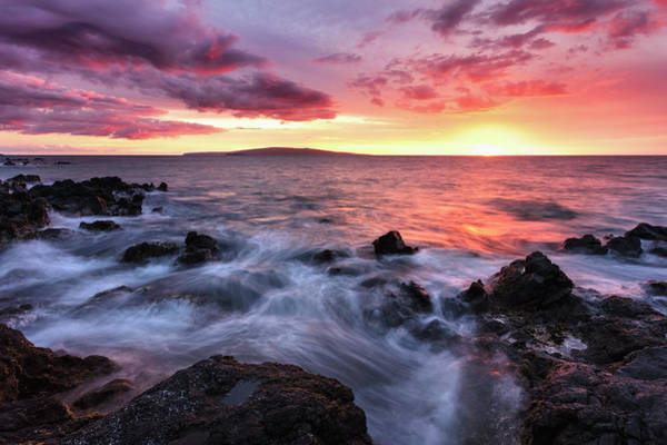Wall Art - Photograph - Soft Water Over Lava Rocks With A Red by Jenna Szerlag