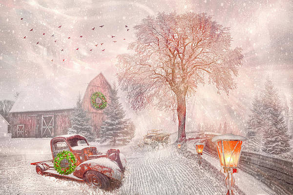 Photograph - Softly Snowing Christmas Snowfall by Debra and Dave Vanderlaan