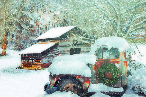 Photograph - Softly Snowing On The Country Farm by Debra and Dave Vanderlaan