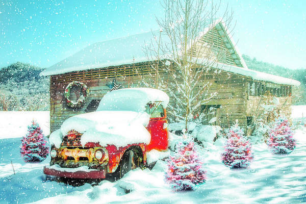 Photograph - Softly Snowing Vintage Christmas  by Debra and Dave Vanderlaan