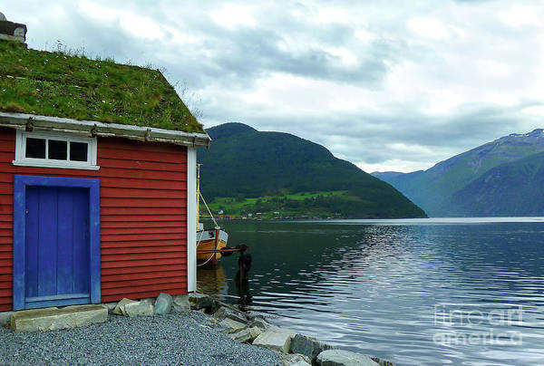 Wall Art - Photograph - Sognefjord Boat House by Norma Brandsberg