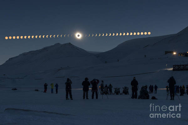 Wall Art - Photograph - Solar Eclipse Sequence In Svalbard On by Thanakrit Santikunaporn