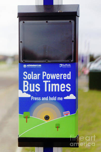 Wall Art - Photograph - Solar Power Bus Stop by Tom Gowanlock