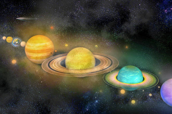 Wall Art - Digital Art - Solar System And Moons by Betsy Knapp