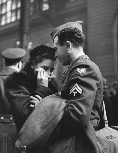 Photograph - Soldier Consoling His Weeping Wife As He by Alfred Eisenstaedt