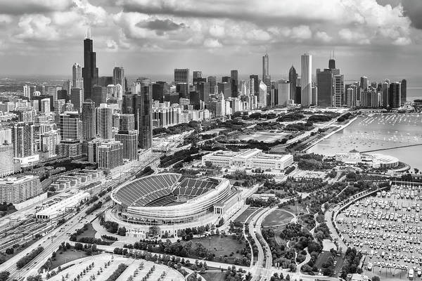 Photograph - Soldier Field And Chicago Skyline Black And White by Adam Romanowicz