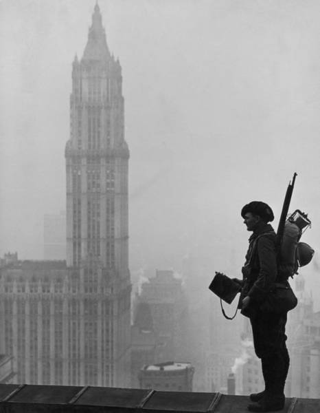 Rifle Photograph - Soldier In Manhattan by Fpg