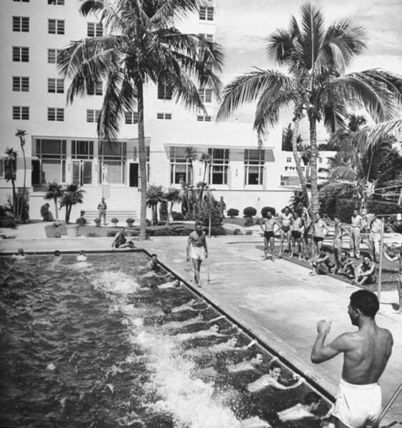 Politics Photograph - Soldiers Taking Swimming Lessons In The by William C. Shrout