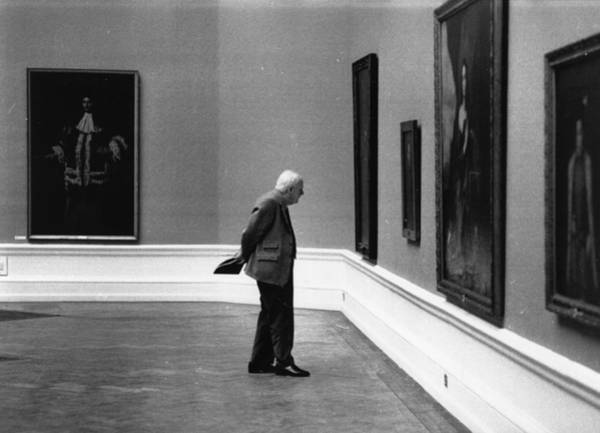 1976 Photograph - Solitary Viewer by Evening Standard