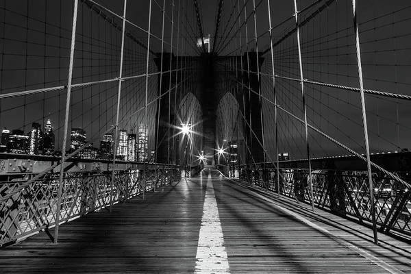 Photograph - Solitude On The Brooklyn Bridge by John Daly