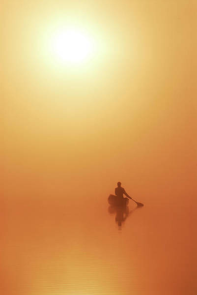 Oar Photograph - Solo Paddler On Calm Lake In Golden by Peter Bowers
