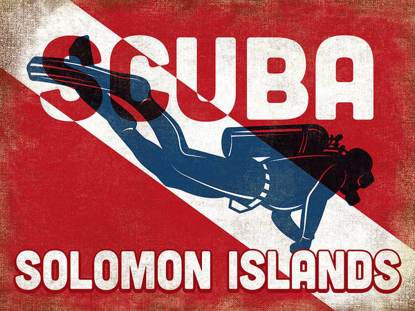 Wall Art - Digital Art - Solomon Islands Scuba Diver - Blue Retro by Flo Karp