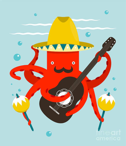 Dancing Digital Art - Sombrero Macho Moustache Octopus by Popmarleo