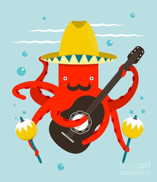 Dancing Wall Art - Digital Art - Sombrero Macho Moustache Octopus by Popmarleo