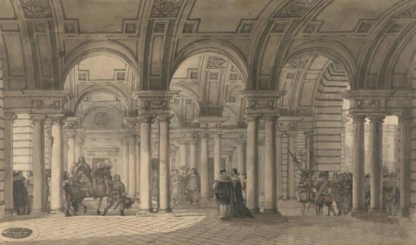 French Artist Drawing - Somerset House, The Strand Vestibule by Louis Jean Desprez