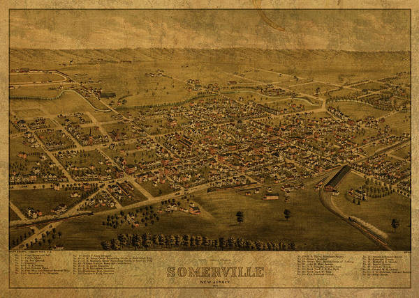 New Jersey Mixed Media - Somerville New Jersey Vintage City Street Map 1882 by Design Turnpike