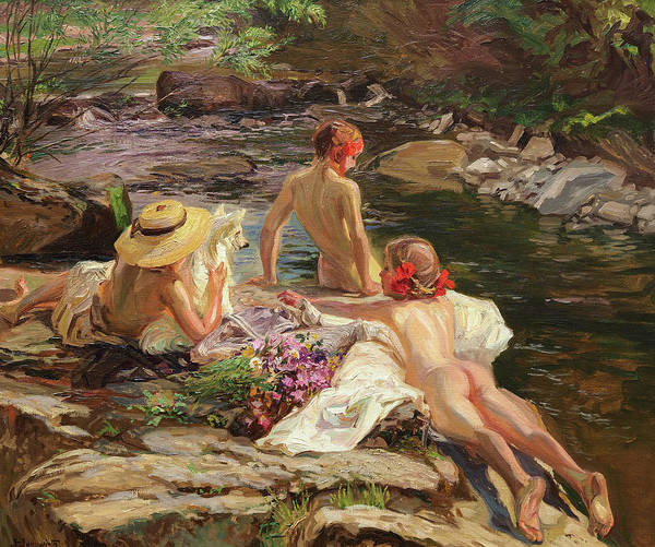 Sunbather Wall Art - Painting - Sommeridylle by Josef Jungwirth