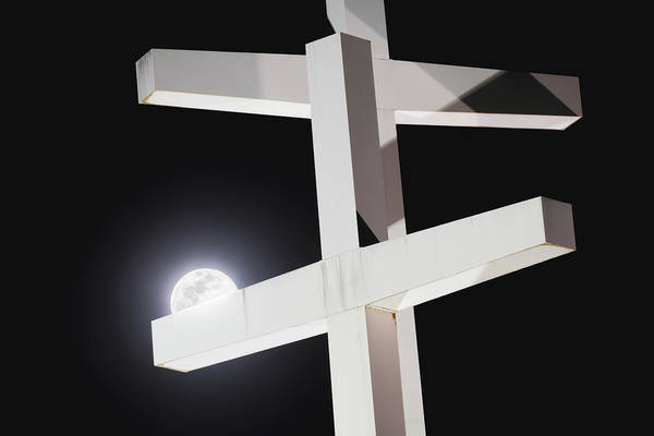 Photograph - Son And Moon - Supermoon At Cross Church by Gregory Ballos