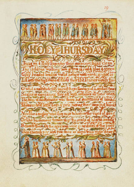 Holy Thursday Painting - Songs Of Innocence And Of Experience Holy Thursday. by William Blake