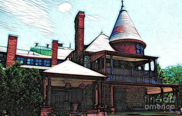 Photograph - Sonnenberg Gardens Mansion Canandaigua New York Colored Sketch Effect by Rose Santuci-Sofranko