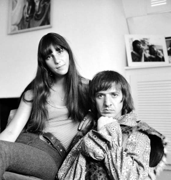 Sonny Bono Wall Art - Photograph - Sonny & Cher Portrait Session At Home by Michael Ochs Archives