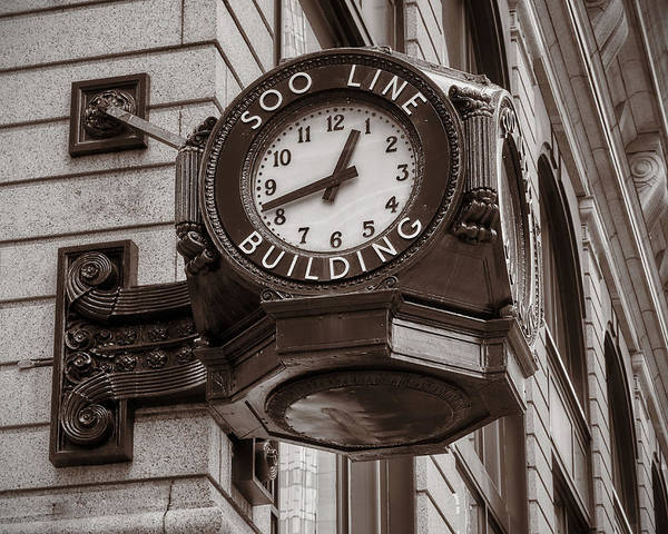 Photograph - Soo Line Building Clock by Jim Hughes