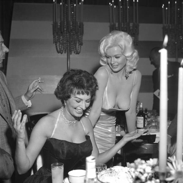 Neckline Photograph - Sophia Loren And Jayne Mansfield At by Michael Ochs Archives