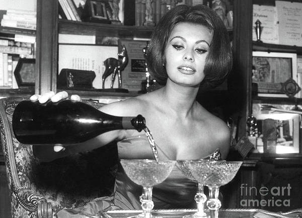 Sophia Photograph - Sophia Loren, Coupe Champagne Glasses by Thomas Pollart