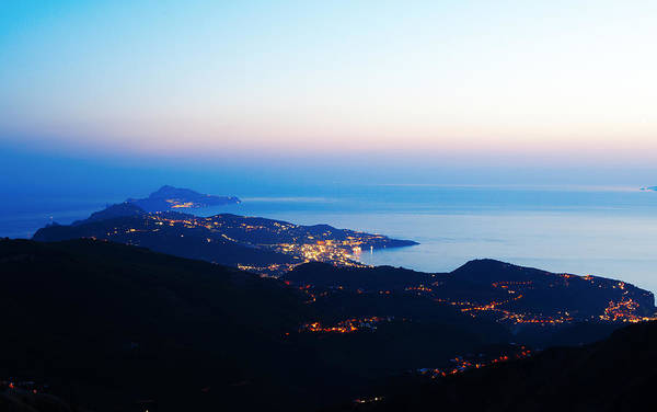 Sorrento And Capri Coasline By Night Art Print