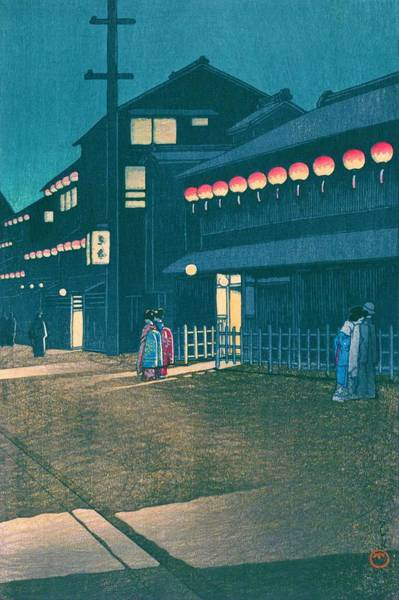 Wall Art - Painting - Souemoncho Night - Top Quality Image Edition by Kawase Hasui