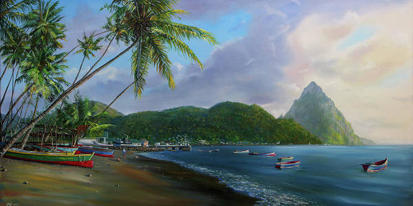 Saint Lucia Painting - Soufriere Beach by Jonathan Guy-Gladding JAG