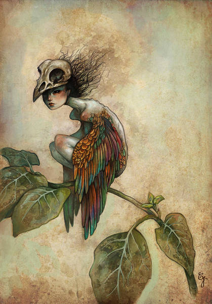 Leaf Painting - Soul Of A Bird by Caroline Jamhour