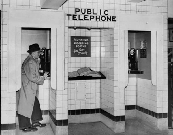 Pay Photograph - Sound Absorbing Phone Booths In The by New York Daily News Archive