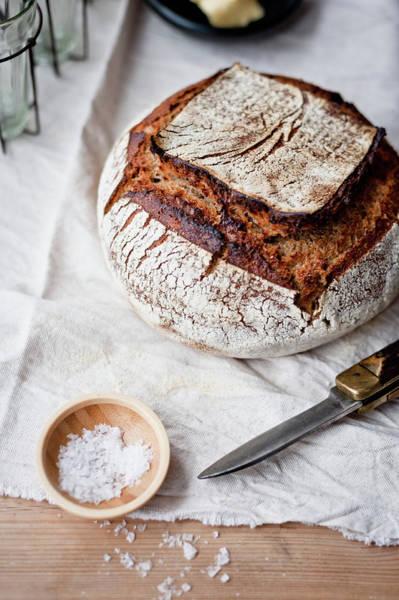 Wood Photograph - Sourdough Bread And Salt by Sarka Babicka