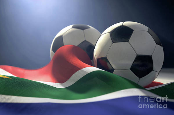 Wall Art - Digital Art - South Africa Flag And Soccer Ball by Allan Swart