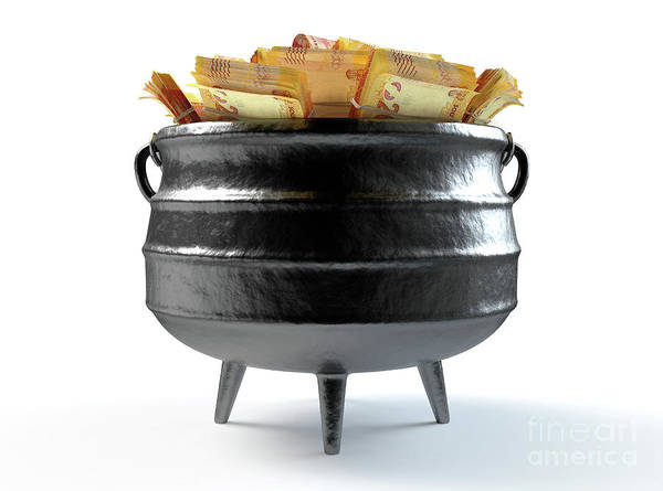Wall Art - Digital Art - South African Potjie Pot And Cash by Allan Swart