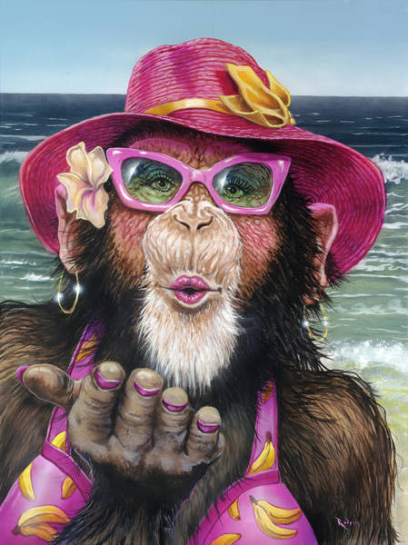 Wall Art - Painting - South Beach Chimp Part I by Lance Rodgers