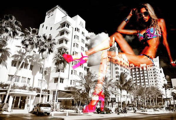 Photograph - South Beach Party Girl Collins Avenue by John Rizzuto