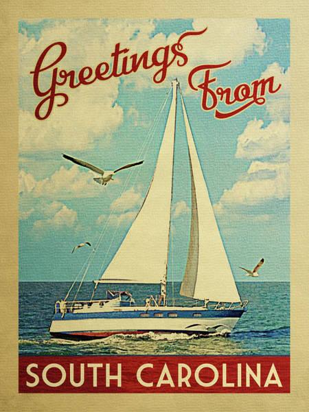 South Lake Digital Art - South Carolina Sailboat Vintage Travel by Flo Karp