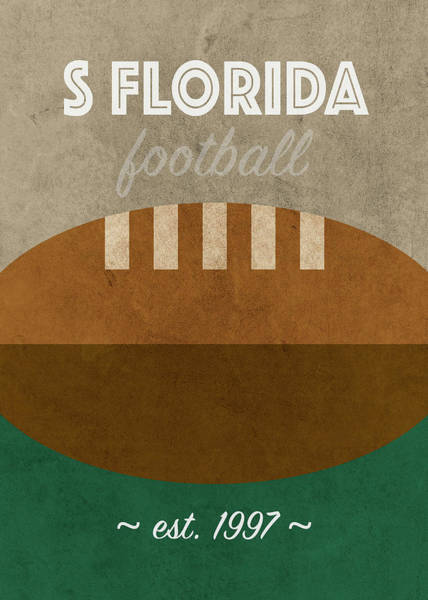 Wall Art - Mixed Media - South Florida College Football Team Vintage Retro Poster by Design Turnpike