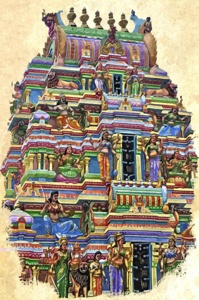 Digital Art - South Indian Temple by Bliss Of Art